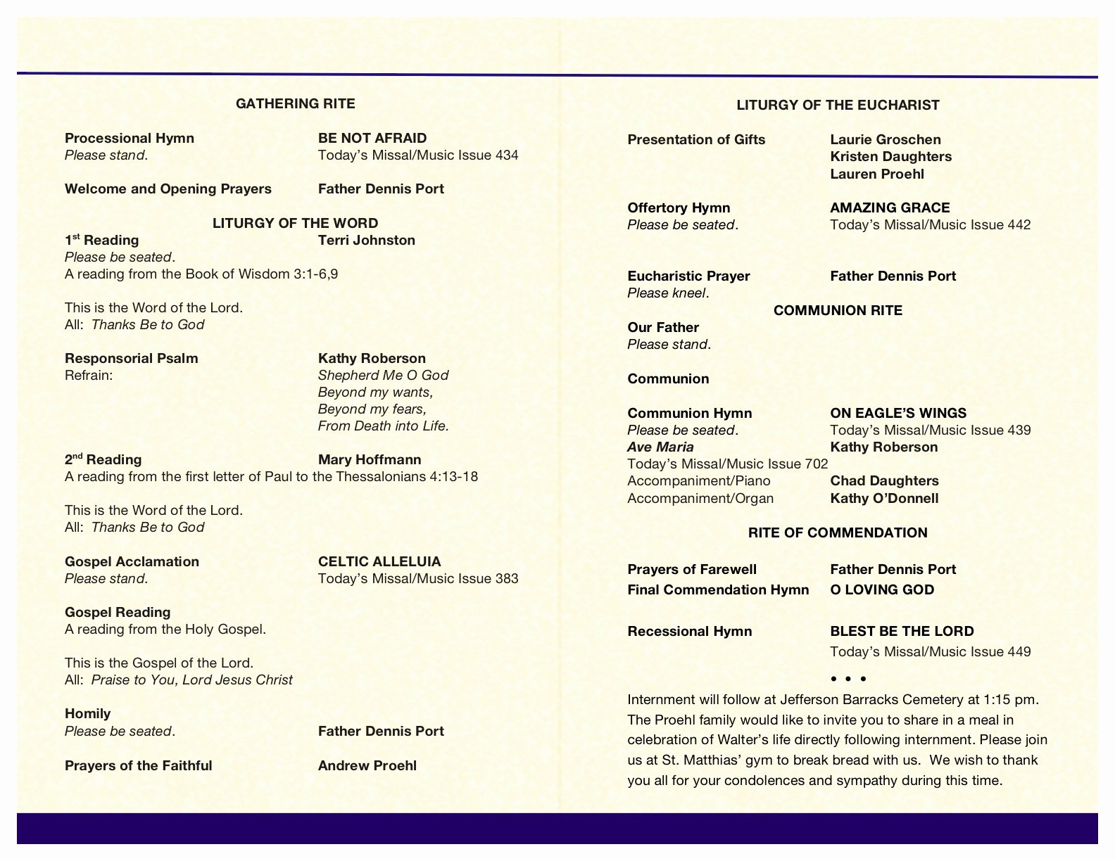 Fresh Free Printable Funeral Programs