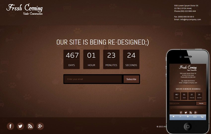 Fresh Ing Under Construction Mobile Website Template by