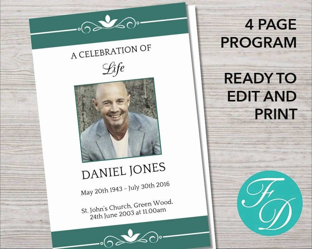 Fresh Memorial Program Template Indesign