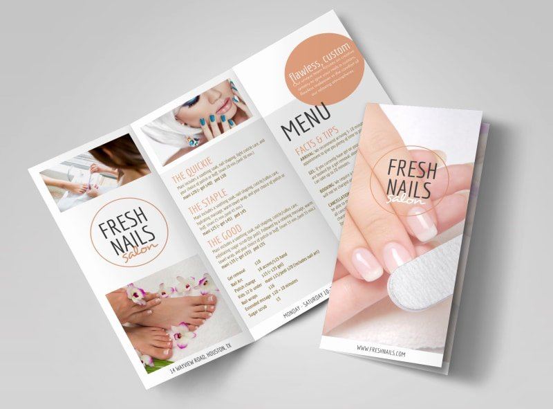 Fresh Nail Salon Price List Tri Fold Brochure Template