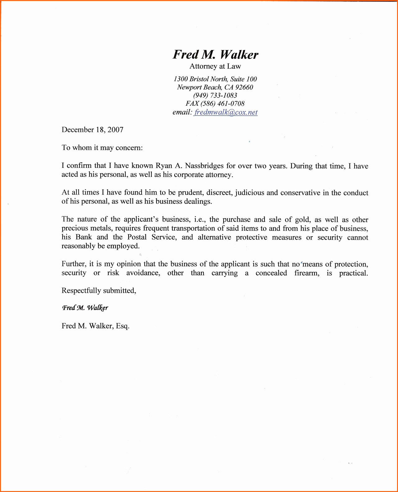 Fresh Sample Character Reference Letter