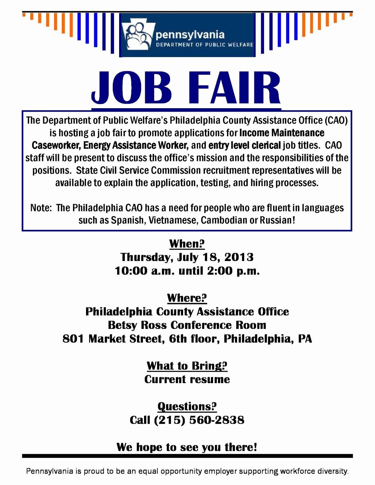 Fresh Start Outreach Ministry Job Fair Department Of