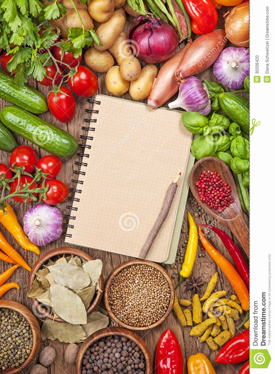 Fresh Ve Ables and Blank Recipe Book Stock Image
