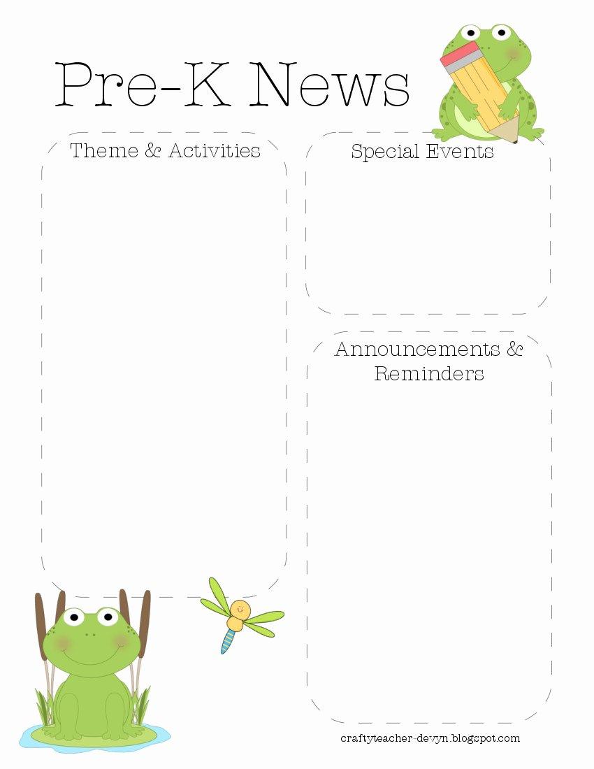 Frog Pre K Newsletter Template