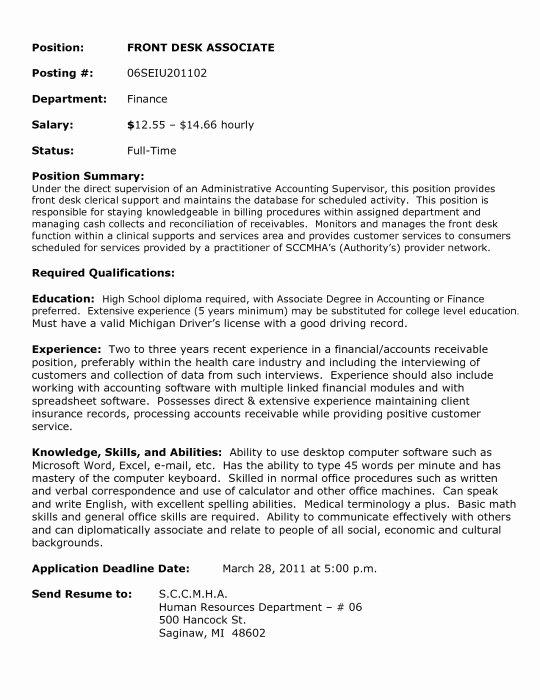Front Desk Agent Resume Sample Best Resume Collection