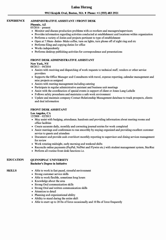 Front Desk assistant Resume Samples