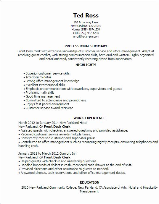 Front Desk Clerk Resume Template — Best Design & Tips