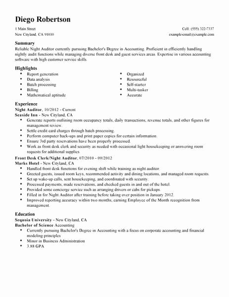 Front Desk Hotel Resume Example