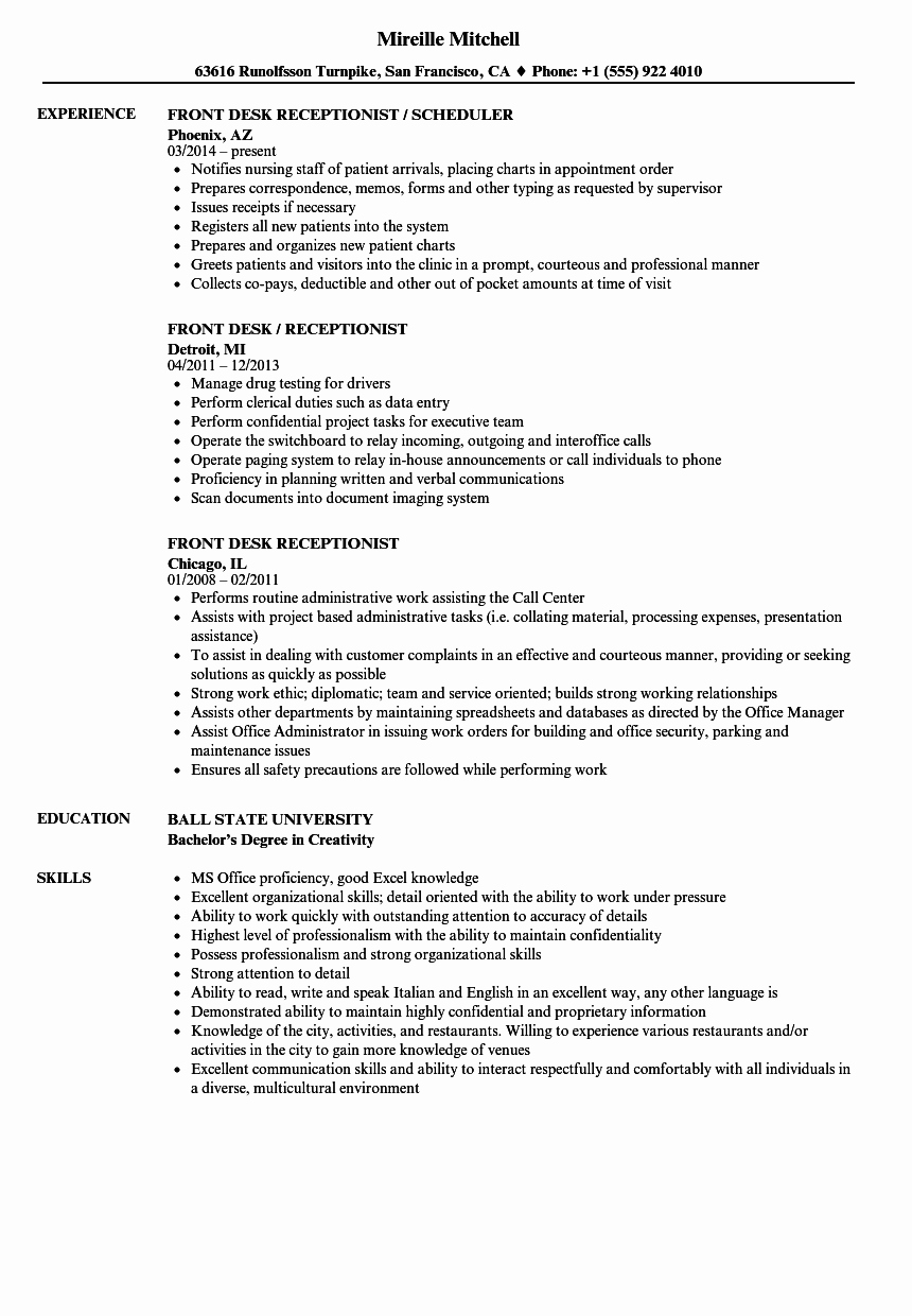 Front Desk Receptionist Resume Samples