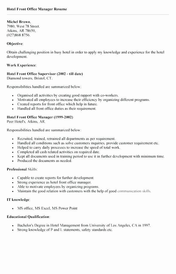 Front Desk Resume Samples
