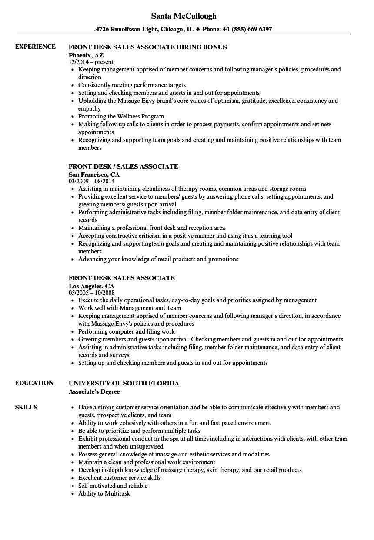 Front Desk Sales associate Resume Samples
