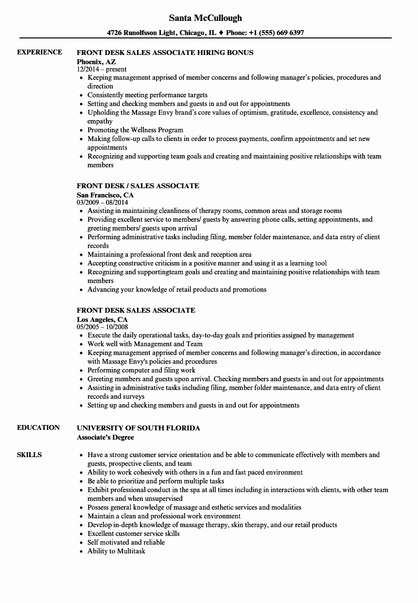 Front Desk Sales associate Resume Samples
