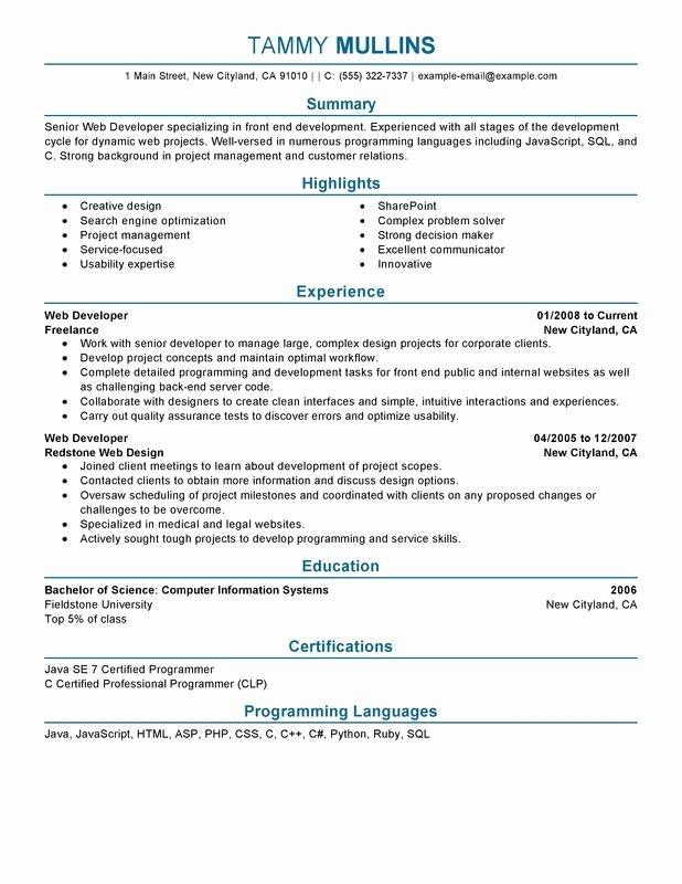 Front End Developer Resume