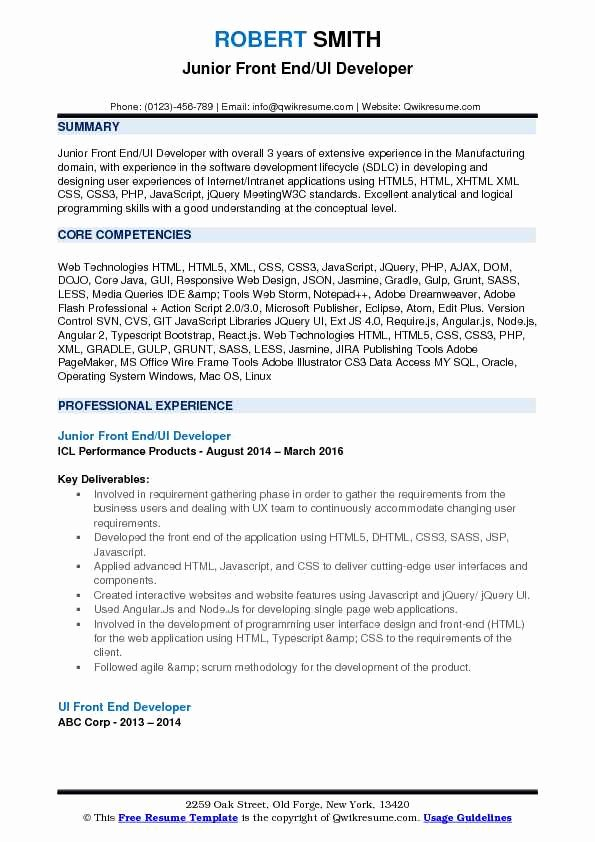 Front End Ui Developer Resume Samples