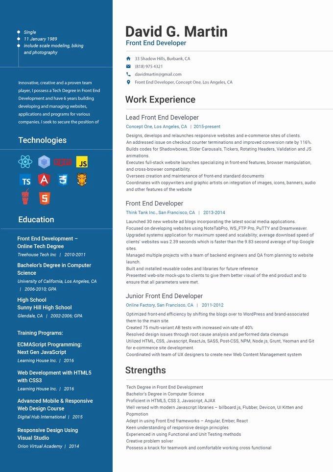 Front End Web Developer Resume Front End Developer Resume