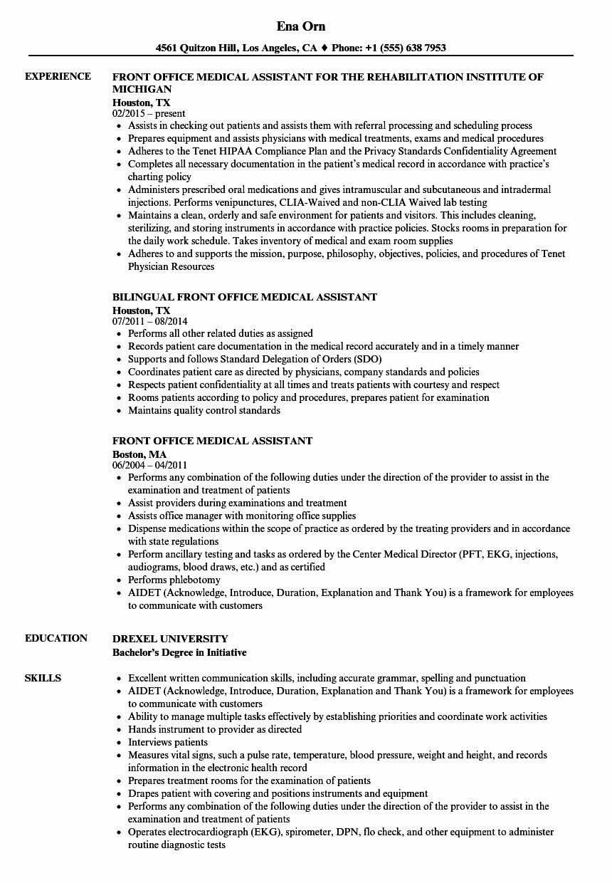 Front Fice Medical assistant Resume Samples