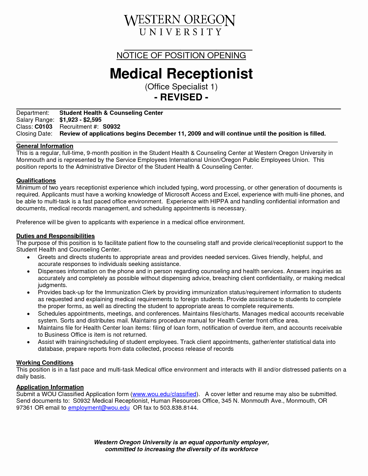 Front Fice Receptionist Desk Resume