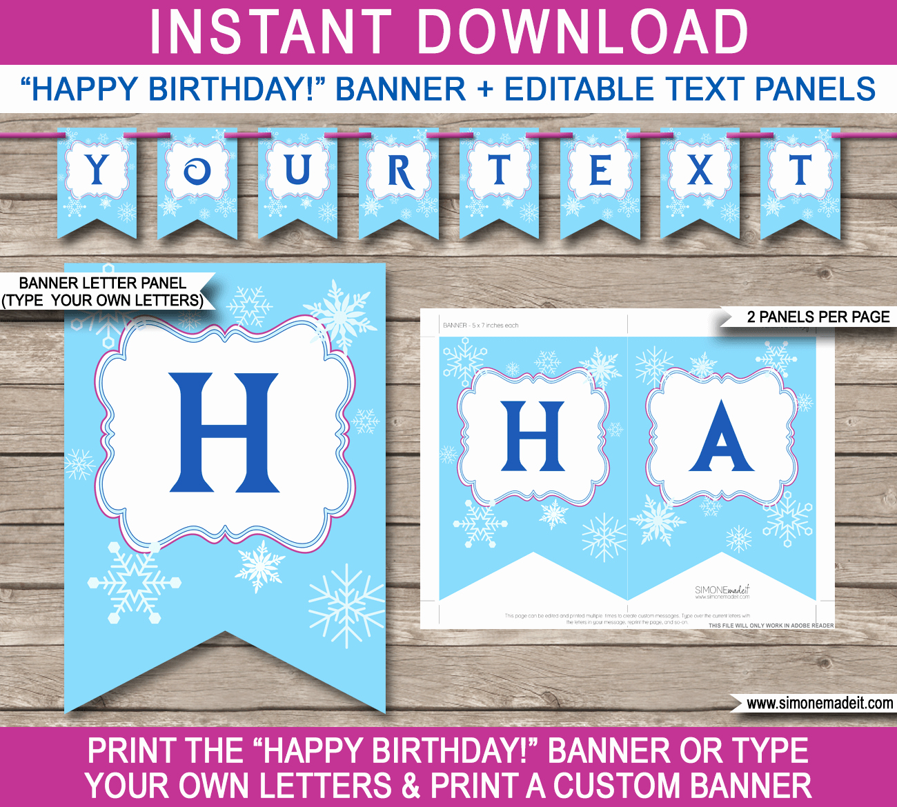 Frozen Party Banner Template Birthday Banner
