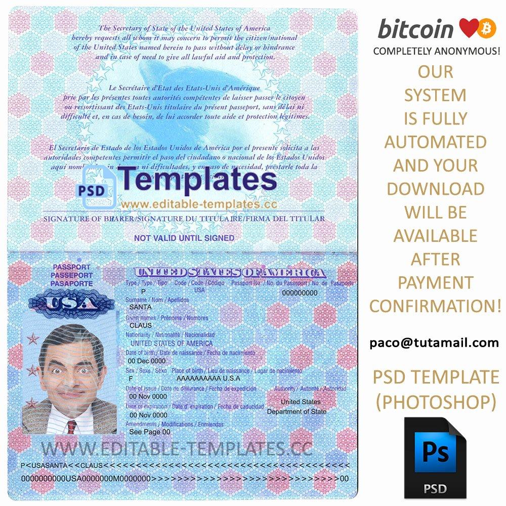 Fully Editable Usa Passport Psd Template