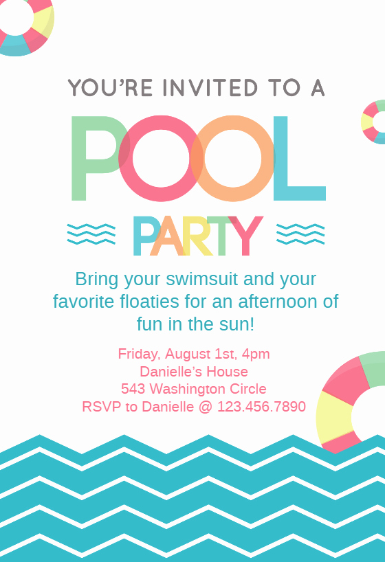 Fun afternoon Pool Party Invitation Template Free