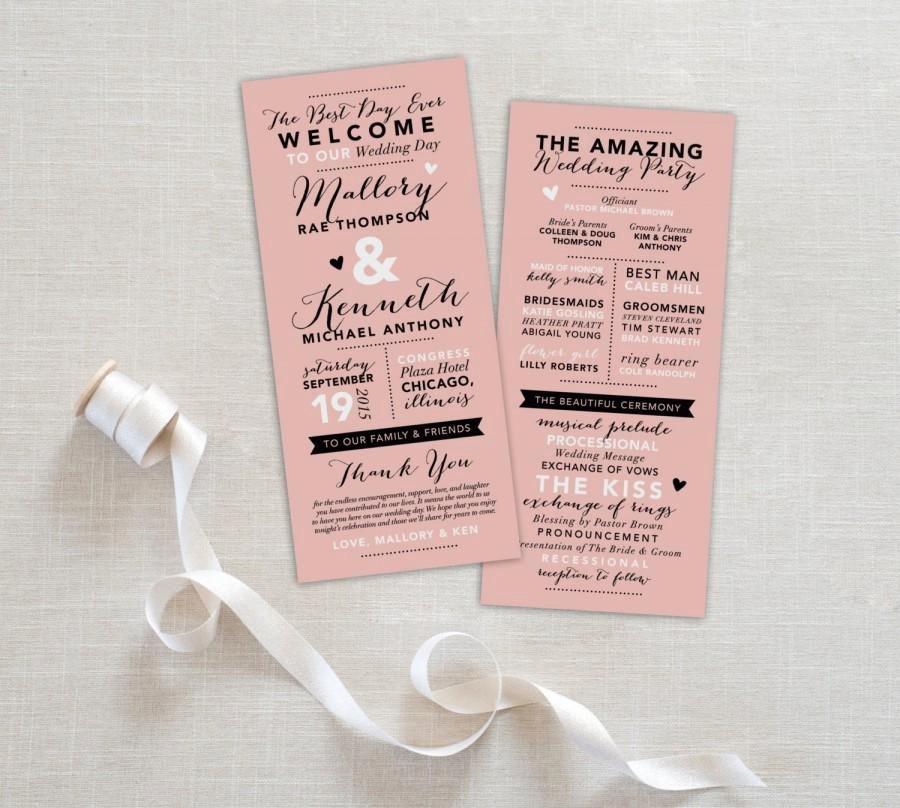 Fun Wedding Program Printable Wedding Program Template