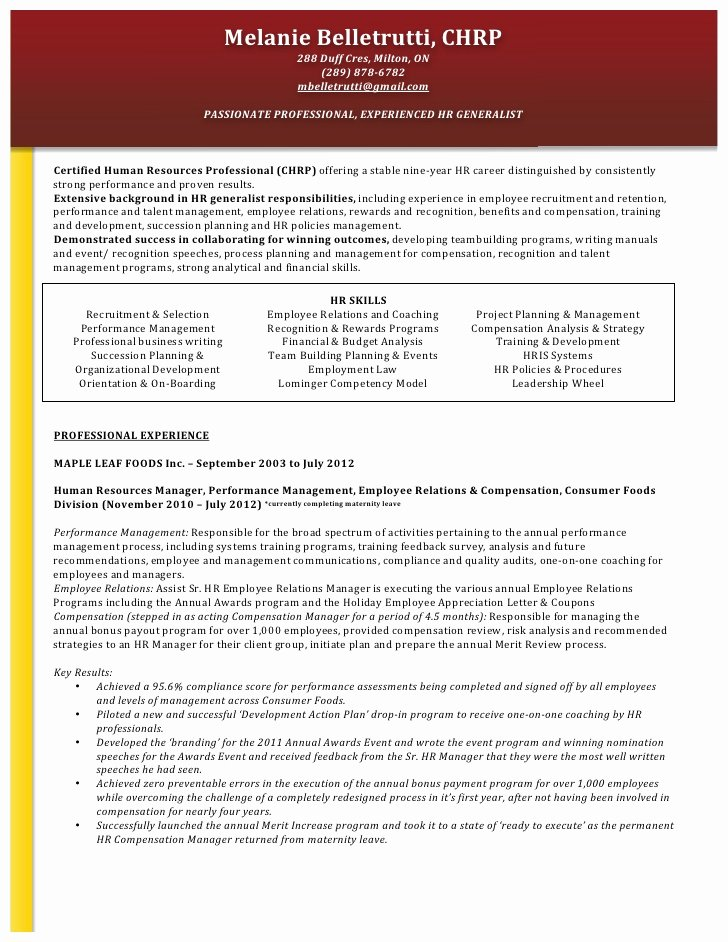 Functional Resume format for Hr Manager