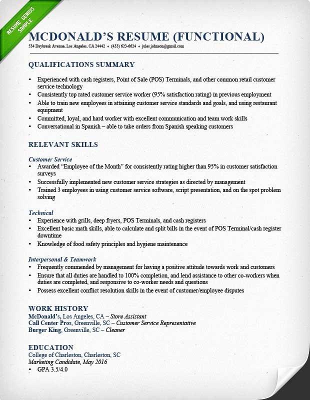 Functional Resume Samples & Writing Guide
