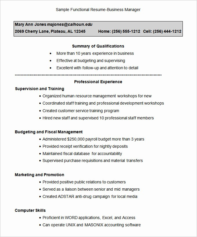Functional Resume Template – 15 Free Samples Examples