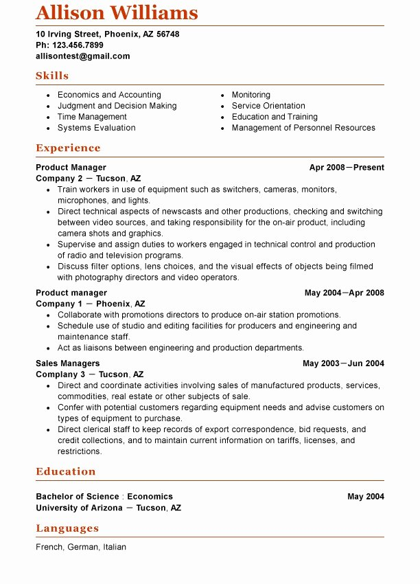 Functional Resume Template Example A Functional Resume