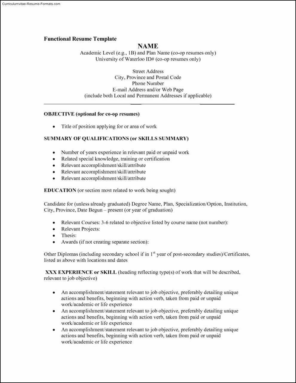 Functional Resumes Templates Free Samples Examples
