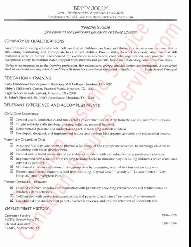 Functional Teacher S Aide Resume Example Sample