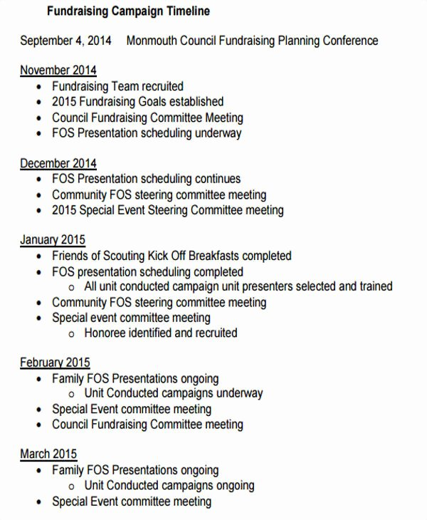 Fundraising Timeline Templates 5 Free Pdf format