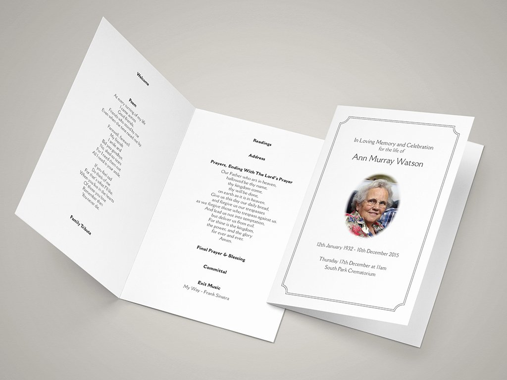 Funeral Hymn Sheets – Create A Personal order Of Service