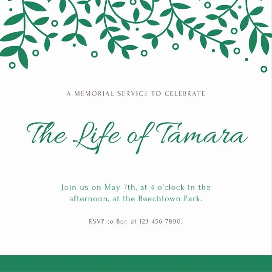 Memorial Invitation Cards Latter Example Template