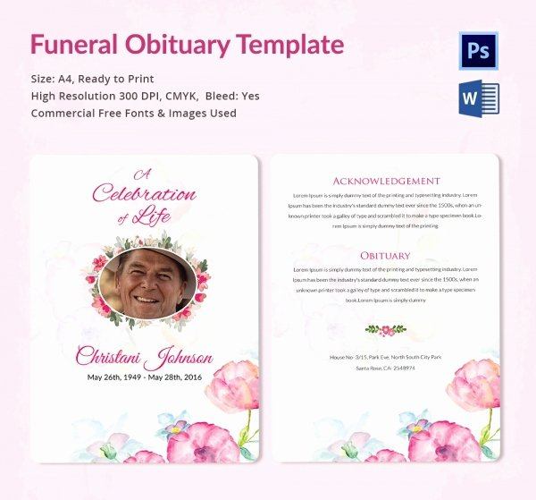 Funeral Obituary Template 25 Free Word Excel Pdf Psd