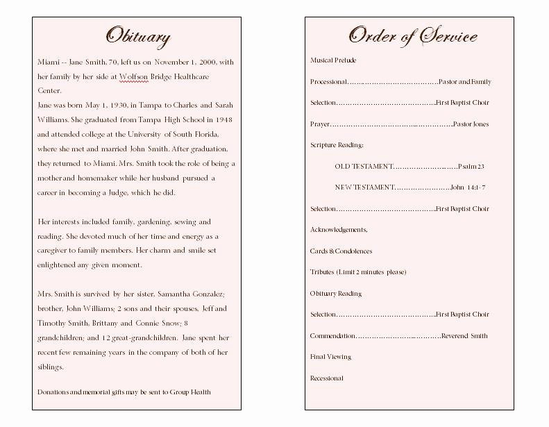 Funeral Obituary Template to Pin On Pinterest