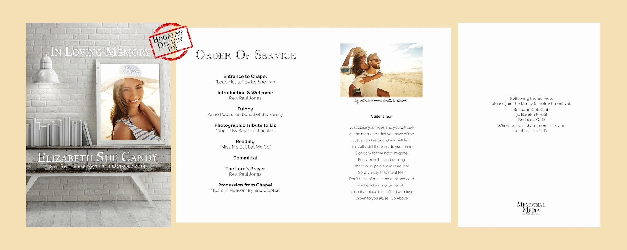 Funeral order Of Service Booklets Memorial Media Sydney