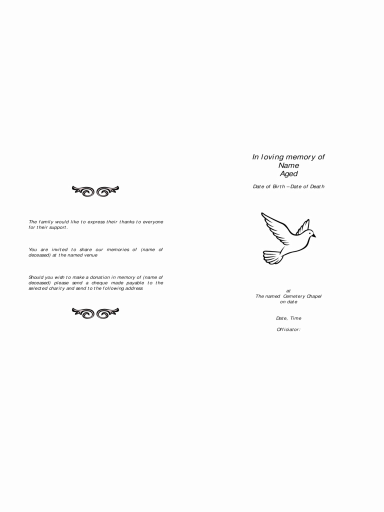 Funeral order Of Service Template 2 Free Templates In