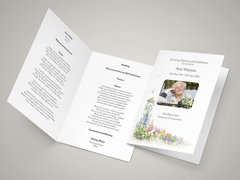 Funeral order Of Service Templates and Printing Next Day