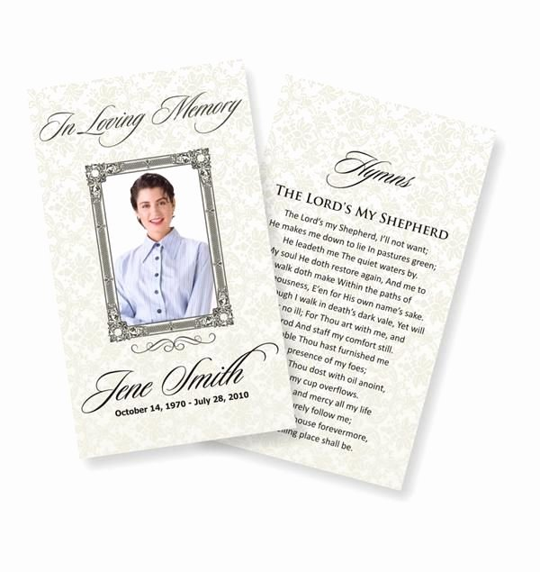 Funeral Prayer Cards Examples