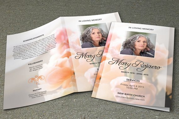 Funeral Program Template Obituary Template Shop and