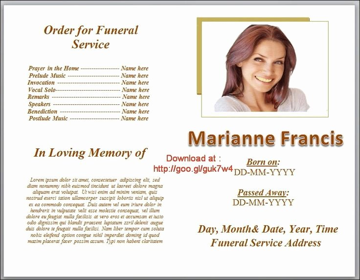 Funeral Program Templates On Pinterest Downloadable
