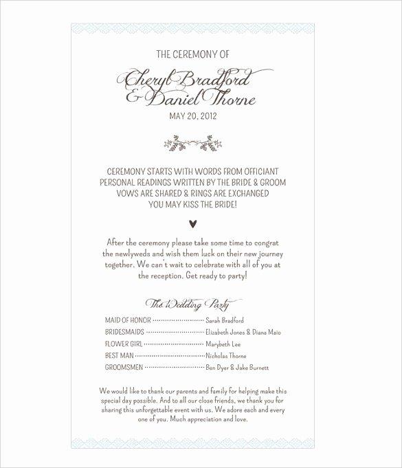 Funny Wedding Program Templates Best Wedding Ceremony
