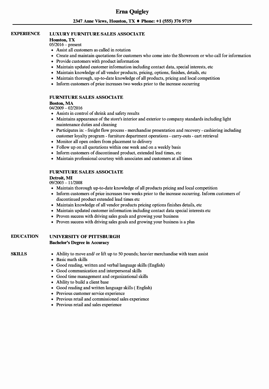 Furniture Sales associate Resume Samples