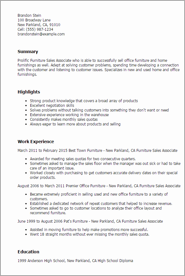 Furniture Sales associate Resume Template — Best Design