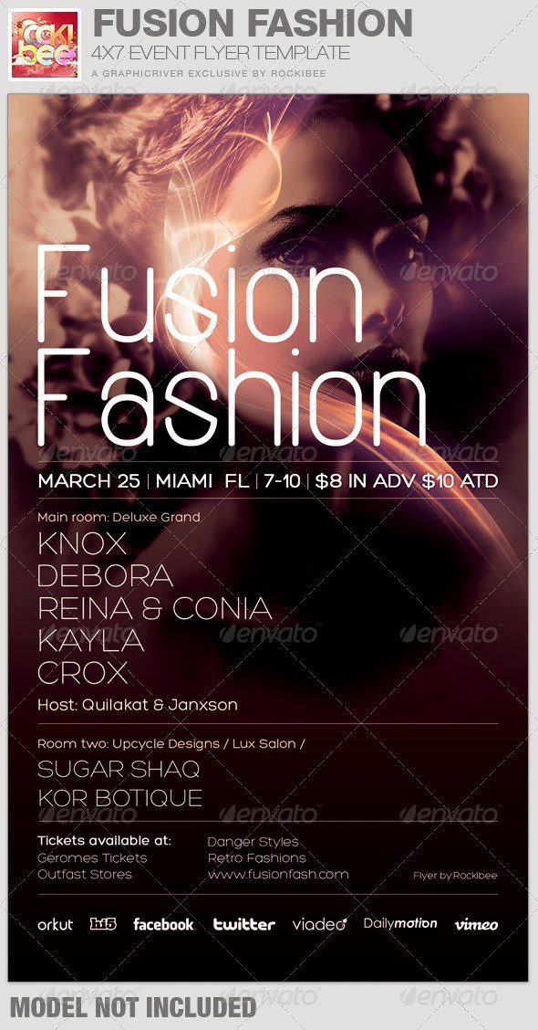 Fusion Fashion event Flyer Template by Rockibee