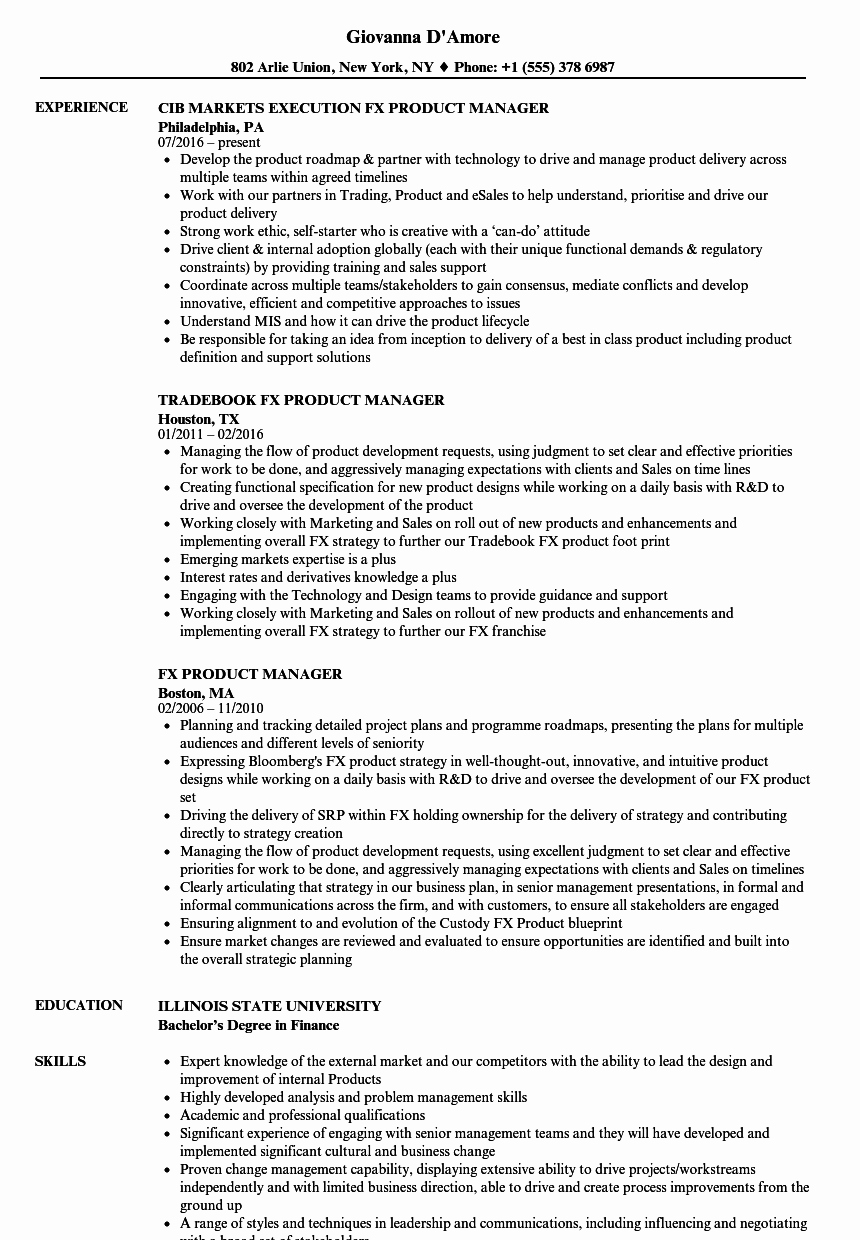 Fx Product Manager Resume Samples