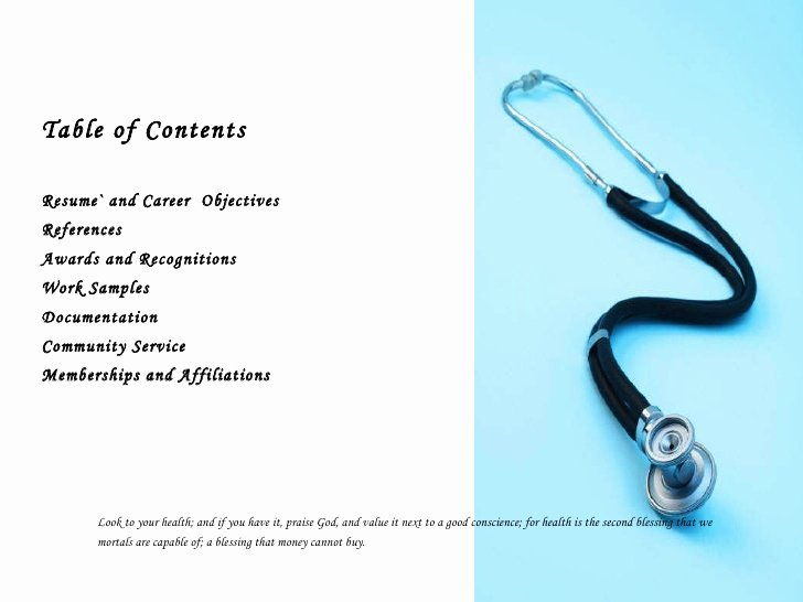 Gallery Table Contents Examples for Portfolio