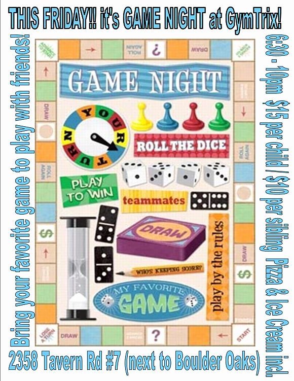 Game Night Flyer Game Night Party Pinterest