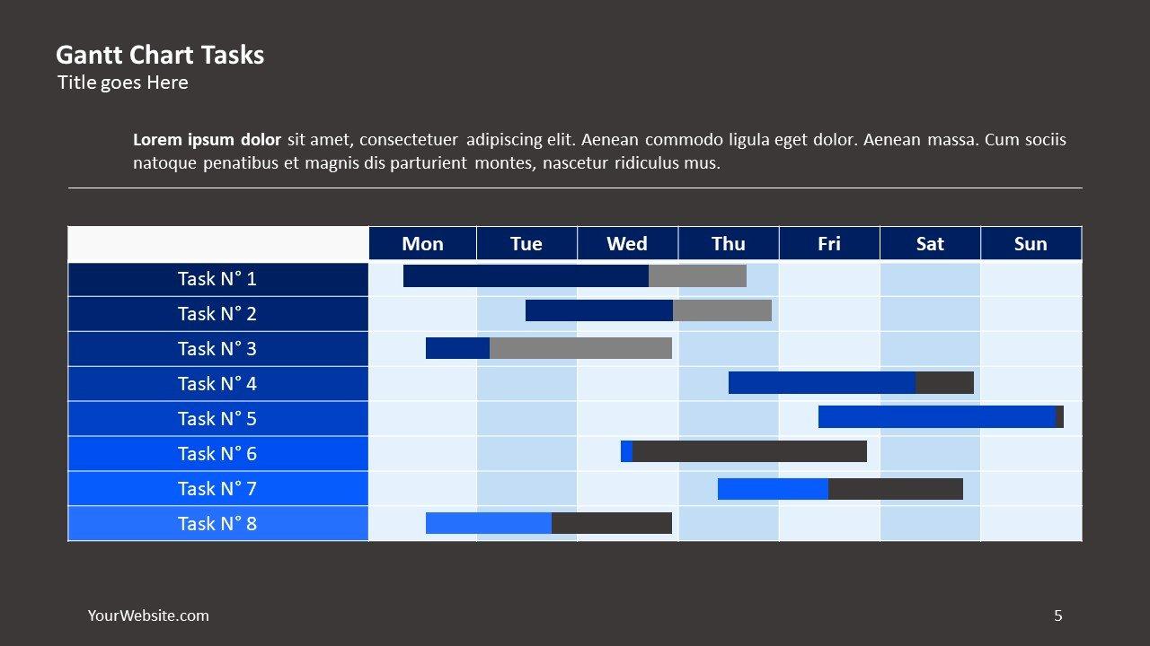 Gantt Chart Tasks Ppt Slide Ocean